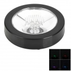 Colorful 3-LED Light Round ABS Cup Coaster Mat - Black (3 x AAA)