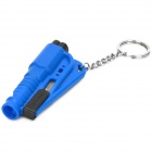 3-in-1 Safety Hammer + Seat Belt Cutter + Whistle Keychain - Blue