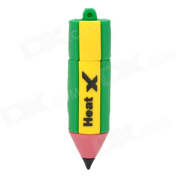 Cute Pencil Style USB 2.0 Flash Drive - Green + Yellow (8GB)