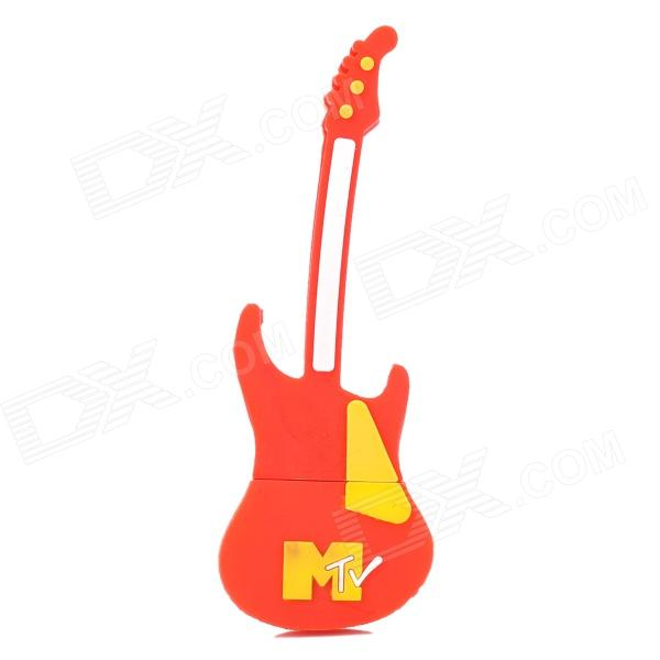Guitar Shaped USB 2.0 Flash Drive - Red + Yellow (4GB)