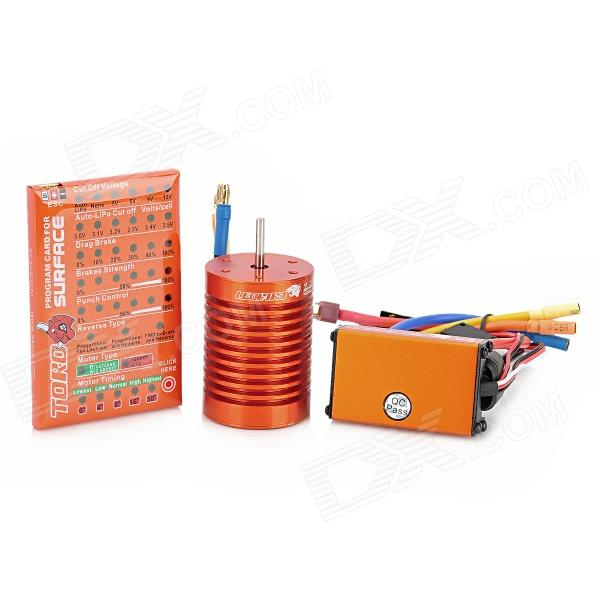 LEOPARD 9T4370 60A DIY Brushless Electronic Speed Controller ESC + Motor  for 1/10 1/8 Cars - Orange e cap aluminum 16v 22 2200uf electrolytic capacitors pack for diy project white 9 x 10 pcs