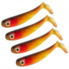 Trulinoya Lifelike Fish Soft Plastic Fishing Baits - Red + Black (4 PCS)