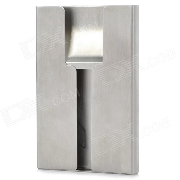 Hand-push Type  Stainless Steel Business Card Case - Silver