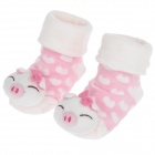 Cute Anti-slip Cotton Socks for 0~7 Months Baby - White + Pink (Pair)