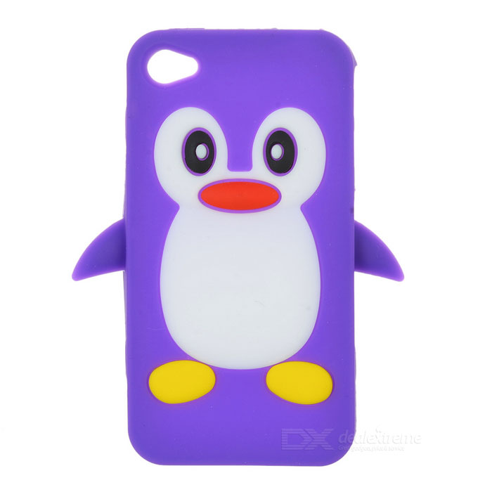Cute Penguin Style Protective Silicone Back Case for Iphone 4 / 4S - Purple cute 3d cartoon penguin style protective silicone soft back case for iphone 4 4s green white