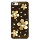 Protective Flowers Style Rhinestone Plastic Back Case for Iphone 5 - Translucent Black + Golden