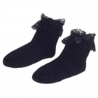 Lovely Bowknot Cotton Socks for 3 Years Kids - Black (Pair)