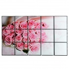 Rose Style Heat-resistant Aluminium Foil Oil-proof Sticker - White + Pink (750 x 450mm)