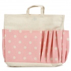Folding Signature Cotton Storage Handbag - Pink + Beige