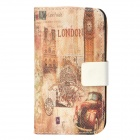 Retro Big Ben Style Protective PU Leather Case for Iphone 4 / 4S - Brown