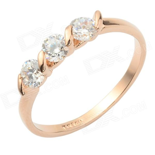 KCCHSTAR Women's Shiny Luxurious 18K Zinc Alloy Ring w/ Inlaid Sparkling Crystal - Golden