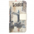 Retro London Bridge Style Protective PU Leather Case for iPhone 4 / 4S - White + Grey + Black