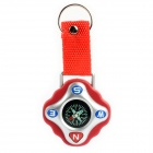 Portable Outdoor Compass w/ Keychain Ring - Red
