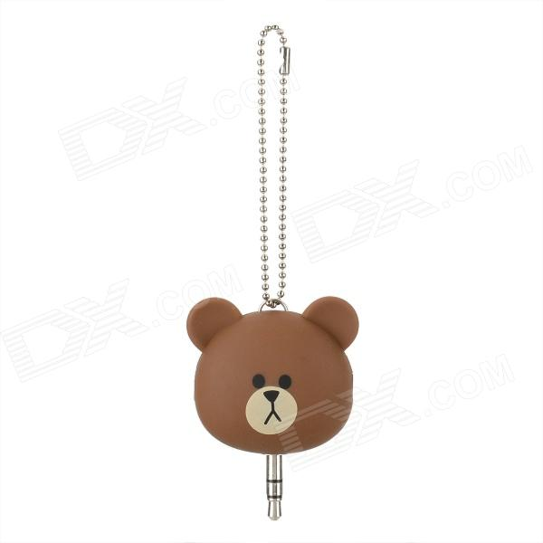 Cute Cartoon Doll Style 3.5mm Plug to Dual 3.5mm Socket Audio Splitter - Brown