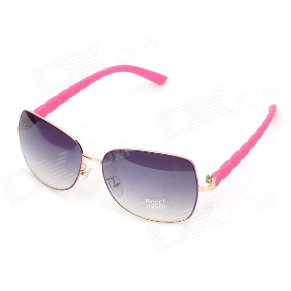 Fashion UV400 Protection Manganese-Nickel Frame Grey Gradient Resin Lens Sunglasses - Pink + Golden
