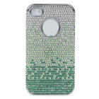 Crystal Decorated Protective PVC Hard Back Case for Iphone 4 / 4S - Green + Silver