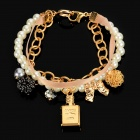 Stylish Luxurious Pearl Bracelet w/ Charming Perfume Bottle Ribbon - Golden + White