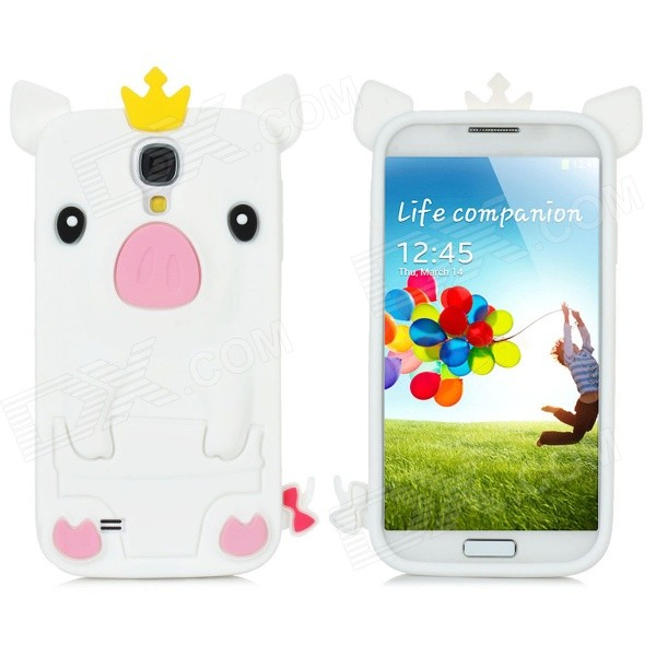 Cute Pig w/ Crown Protective Silicone Back Case for Samsung i9500 - White + Yellow + Pink + Black