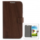 Protective PU Leather Flip Open Case for Samsung Galaxy S4 / i9500 - Brown