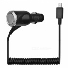 Car Cigarette Lighter Coiled Curly Cable Charger for Samsung Galaxy S4 / i9500 / i9300 - Black