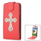 Shiny Rhinestone Cross Design PU Leather Top Flip-Open Case for Samsung i9500 - Red