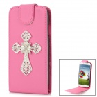 Shiny Rhinestone Cross Design PU Leather Top Flip-Open Case for Samsung i9500 - Deep Pink