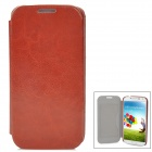 Stylish Flip-open Protective PU Leather Case w/ Card Slot for Samsung Galaxy S4 i9500 - Brownish Red