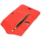 Fashionable Zipper Purse Style PU Leather Case + Back Holder for Samsung Galaxy S4 i9500 - Red