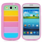 Rainbow Pattern PC + PVC Back Case for Samsung i9300 - Multicolored