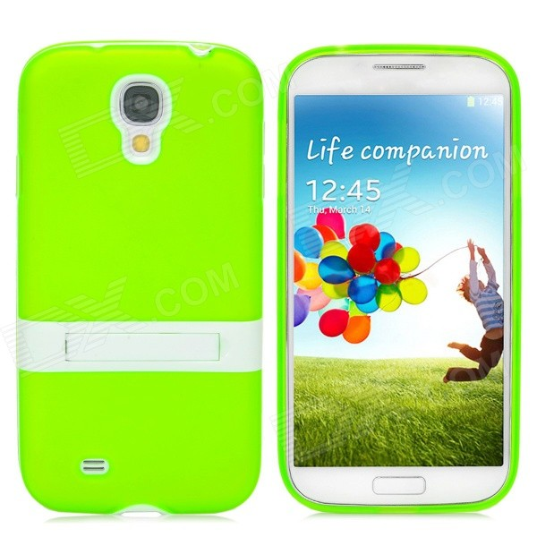 Stylish Flexible Protective PVC + PC Back Case w/ Holder for Samsung Galaxy S4 i9500 - Green + White stylish crystal inlaid protective plastic back case for samsung s4 i9500 blueish green gray