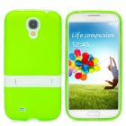 Stylish Flexible Protective PVC + PC Back Case w/ Holder for Samsung Galaxy S4 i9500 - Green + White