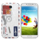 Retro Envelope Pattern Protective Plastic Back Case for Samsung Galaxy S4 i9500 - White + Red + Blue