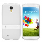 Stylish Flexible Protective PVC + PC Back Case w/ Holder for Samsung Galaxy S4 i9500 - White