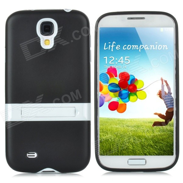 Protective PVC + PC Back Case w/ Stand Holder for Samsung i9500 - Black + White 3 in 1 fish eye macro wide angle clip lens white black