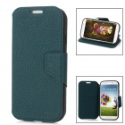 iMAX Lichee Pattern PU Leather Flip-Open Case w/ Screen Protector for Samsung i9500 - Green