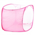 Folding Laundry Basket Clothing Storage Bag - White + Pink