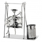 Creative Handcraft Iron Wire Guitar Player Playing on the Swings Display Model Toy - Iron Grey