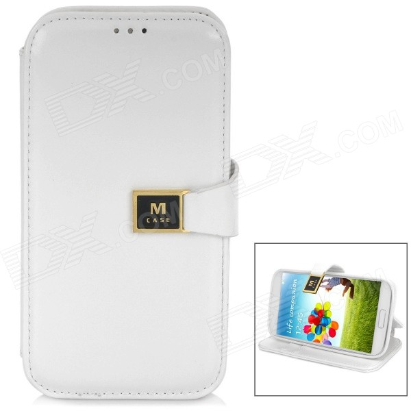 Stylish Flip-open Protective PU Leather Case w/ Card Slot for Samsung Galaxy S4 i9500 - White