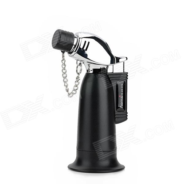 AM-272 1300 Centigrade Blue Flame Windfroof Butane Jet Torch Lighter w / Keychain - Black + Silver