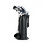 ZB-272 1300 Centigrade Blue Flame Windproof Butane Jet Torch Lighter w / Keychain - Black + Silver