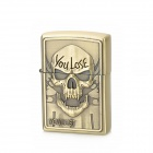 KANTAI Evil Skull Pattern Copper Zinc Alloy Kerosene Oil Lighter - Bronze