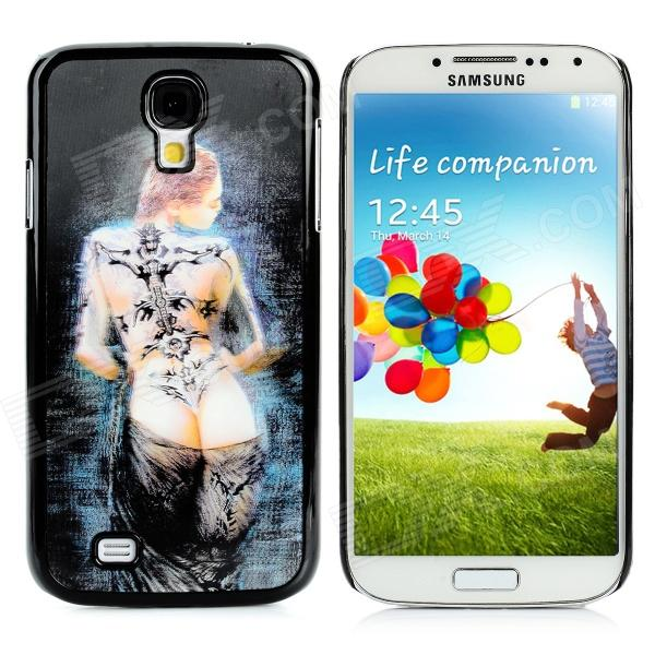 Protective 3D Tattoo Beauty Pattern Plastic Back Case for Samsung Galaxy S4 / i9500 - Black protective cute spots pattern back case for samsung galaxy s4 i9500 multicolored