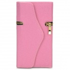 Fashionable Zipper Purse Style PU Leather Case + Back Holder for Samsung Galaxy S4 i9500 - Pink
