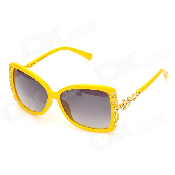 LANGTEMENG Fashion UV400 Protection Cellulose Acetate Frame Color Gradient Lens Sunglasses - Yellow langtemeng c56334 fashion women s uv400 protection plastic frame resin lens sunglasses white red
