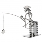 Creative Handcraft Iron Wire Fisherman Fishing Display Model Toy - Iron Grey