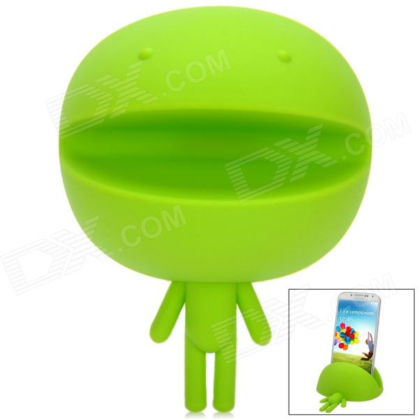 Novelty Cute Smiling Robot Style Flexible Silicone Holder Stand for Iphone / Samsung + More - Green