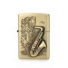 KANTAI Stylish Saxophone Pattern Relievo Copper Zinc Alloy Kerosene Oil Lighter - Bronze