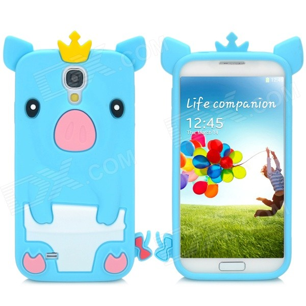 Cute Crown Piglet Style Flexible Silicone Back Case for Samsung Galaxy S4 i9500 - Blue