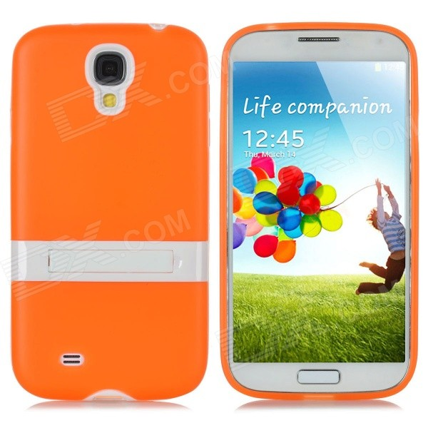 Protective PVC + PC Back Case w/ Stand Holder for Samsung i9500 - Orange + White
