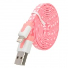 Polka Dot Style USB to 8-Pin Lightning Data / Charging Cable for iPhone 5 - Pink + White